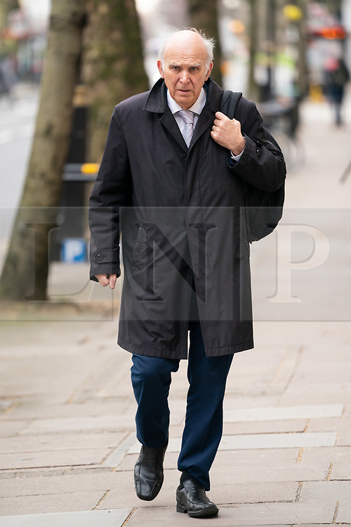 © Licensed to London News Pictures. 27/03/2019. London, UK. Leader of the Liberal Democrats Sir Vince Cable in Westminster this morning. Later today MPs are expected to vote on a series of indicative votes on alternative proposals to British Prime Minister Theresa May's withdrawal agreement. Photo credit : Tom Nicholson/LNP