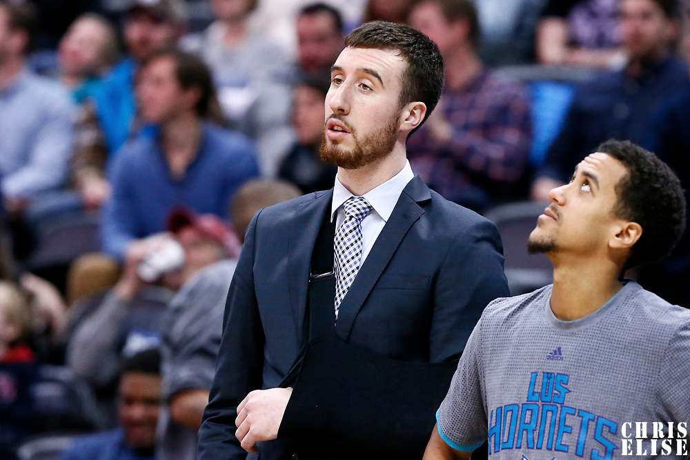 04 March 2017: Injured Charlotte Hornets center Frank Kaminsky III (44) is seen on the bench during the Charlotte Hornets 112-102 victory over the Denver Nuggets, at the Pepsi Center, Denver, Colorado, USA.