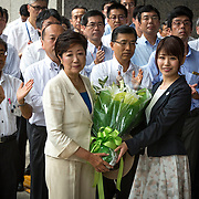 TOKYO, JAPAN - AUGUST 2 : Yuriko Koike, newly elected governor of Tokyo, received a welcome bouquet during the first official day as a Tokyo Governor at Tokyo Metropolitan Government Building in Tokyo, Japan, on Tuesday, August 2, 2016. Yuriko Koike a Liberal Democratic Party lawmaker and former defense minister is the first women to be elected as a Governor of Tokyo. (Photo: Richard Atrero de Guzman/NURPhoto)