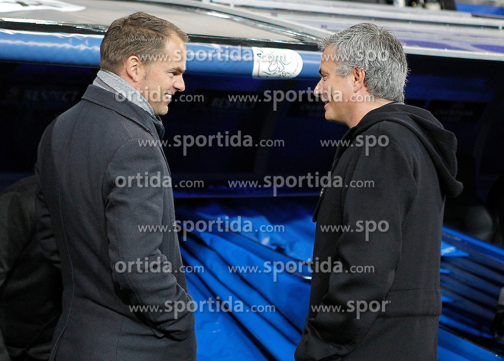 04.12.2012, Estadio Santiago Bernabeu, Madrid, ESP, UEFA CL, AC Mailand vs Ajax Amsterdam, Gruppe D, im Bild Real Madrid's coach Jose Mourinho and AFC Ajax's coach Frank de Boer // during UEFA Champions League group D match between Real Madrid CF and Ajax Amsterdam at the Estadio Santiago Bernabeu, Madrid, Spain on 2012/12/04. EXPA Pictures © 2012, PhotoCredit: EXPA/ Alterphotos/ Alvaro Hernandez..***** ATTENTION - OUT OF ESP and SUI *****