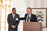 Former Senator George Voinovich, accompanied by Ohio University President Roderick McDavis, addresses attendees at the 32nd Annual Ohio University State Government Alumni Luncheon on Tuesday, May 5, 2015.  Photo by Ohio University  /  Rob Hardin