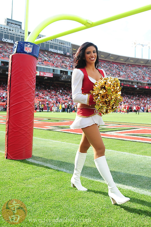 August 22, 2009; San Francisco, CA, USA; San Francisco 49ers Gold Rush cheerleader Ariana Torres before the game against the Oakland Raiders at Candlestick Park. The 49ers defeated the Raiders 21-20. Mandatory Credit: Kyle Terada-Terada Photo