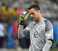 Julio Cesar of Brazil shows dejection during the 2014 FIFA World Cup match at Mineir&atilde;o, Belo Horizonte<br /> Picture by Stefano Gnech/Focus Images Ltd +39 333 1641678<br /> 08/07/2014