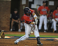 Mississippi's Taylor Hashman (27) hits a two RBI single vs. St. John's during an NCAA Regional at Davenport Field in Charlottesville, Va. on Friday, June 4, 2010.