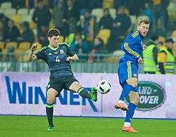 KIEV, UKRAINE - Easter Monday, March 28, 2016: Wales' Ben Davies in action against Ukraine during the International Friendly match at the NSK Olimpiyskyi Stadium. (Pic by David Rawcliffe/Propaganda)