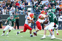 19 September 2015:  Tyler Fahey cuts back towards ball carrier Jordan Beem during an NCAA division 3 football game between the Simpson College Storm and the Illinois Wesleyan Titans in Tucci Stadium on Wilder Field, Bloomington IL