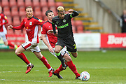 Forest Green Rovers Junior Mondal(25) is tackled by Crewe Alexandra's Josh Lundstram(22) during the EFL Sky Bet League 2 match between Crewe Alexandra and Forest Green Rovers at Alexandra Stadium, Crewe, England on 27 April 2019.