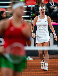 Kiki Bertens en Demi Schuurs in action in the match against Aryna Sabalenka en Aljaksandra Sasnovitsj in the double match against the Fed Cup qualifier Belarus at Sportcampus Zuiderpark, The Hague, Netherlands