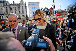 © Licensed to London News Pictures.15/03/2017.London, UK.  CLAIRE BLACKMAN, wife of Sergeant Alexander Blackman, arrives at the Royal Courts of Justice in London, where a judge reduced the conviction of Sgt Blackman from Murder to Manslaughter, on appeal.  Also known as Marine A, Sgt Blackman was appealing a life sentence for the murder of a wounded Taliban fighter in Afghanistan in 2011.Photo credit: Ben Cawthra/LNP