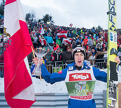 04.01.2015, Bergisel Schanze, Innsbruck, AUT, FIS Ski Sprung Weltcup, 63. Vierschanzentournee, Innsbruck, Siegerehrung, im Bild Stefan Kraft (AUT) // Stefan Kraft of Austria celebrate on podium during the awards ceremony for the 63rd Four Hills Tournament of FIS Ski Jumping World Cup at the Bergisel Schanze in Innsbruck, Austria on 2015/01/04. EXPA Pictures © 2015, PhotoCredit: EXPA/ JFK