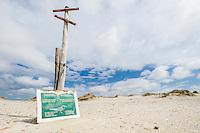 Caspian Tern breeding area signage, De Mond Nature Reserve, Western Cape, South Africa