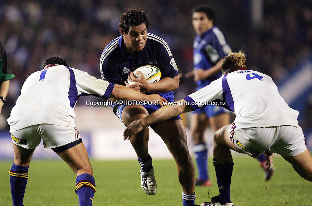 8 May, 2004. Rugby Union Super 12. Eden Park, Auckland, New Zealand. Blues v Highlanders.<br /> Bradley Mika.<br /> The Blues won the match, 50 - 22.<br /> Please credit: Andrew Cornaga/Photosport