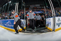 KELOWNA, CANADA - JANUARY 27: Referees Jeff Ingram and Kyle Kowalski enter the ice at the Kelowna Rockets against the Kamloops Blazers on January 27, 2017 at Prospera Place in Kelowna, British Columbia, Canada.  (Photo by Marissa Baecker/Shoot the Breeze)  *** Local Caption ***