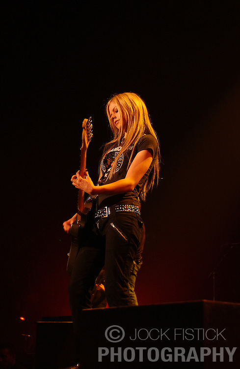 BRUSSELS, BELGIUM - OCT-1-2004 - Recording artist Avril Lavigne performs to a sold out crowd at Forest National arena in Brussels. (Photo © Jock Fistick)