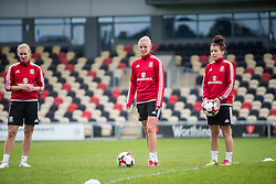 NEWPORT, WALES - Monday, September 19, 2016: Wales' Rhiannon Roberts, Sophie Ingle and Angharad James warm up ahead of the UEFA Women's Euro 2017 Qualifying Group 8 match at Rodney Parade. (Pic by Laura Malkin/Propaganda)