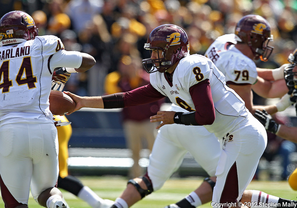 September 22 2012: Central Michigan Chippewas quarterback Ryan Radcliff (8) hands the ball off to running back Anthony Garland (44) during the first half of the NCAA football game between the Central Michigan Chippewas and the Iowa Hawkeyes at Kinnick Stadium in Iowa City, Iowa on Saturday September 22, 2012. Central Michigan defeated Iowa 32-31.