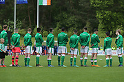 Republic of Ireland sing their national anthem looking towards their flag during the UEFA European Under 17 Championship 2018 match between Bosnia and Republic of Ireland at Stadion Bilino Polje, Zenica, Bosnia and Herzegovina on 11 May 2018. Picture by Mick Haynes.