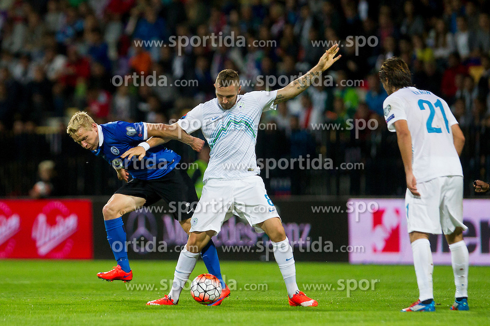 Ats Purje of Estonia and Jasmin Kurtic of Slovenia during the EURO 2016 Qualifier Group E match between Slovenia and Estonia at Ljudski vrt on September 8, 2015 in Maribor, Slovenia. Photo by Urban Urbanc / Sportida