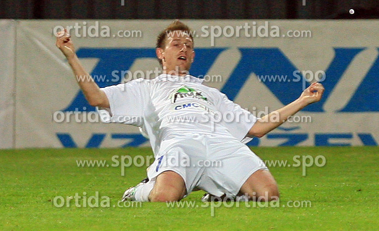 Darijo Biscan of Celje celebrates his second goal at 30th Round of Slovenian First League football match between NK Domzale and NK MIK CM Celje in Sports park Domzale, on April 25, 2009, in Domzale, Slovenia. Celje won 3:0. (Photo by Vid Ponikvar / Sportida)