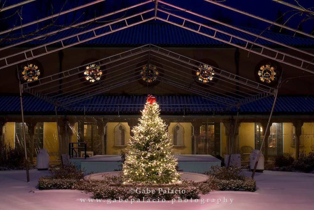 Holiday decor in the Spanish Courtyard of the House Museum at Caramoor,