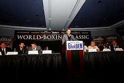 July 13, 2009; New York, NY, USA; Mikkel Kessler speaks at the press conference announcing the Super Six World Boxing Classic Tournament at Madison Square Garden in New York City.