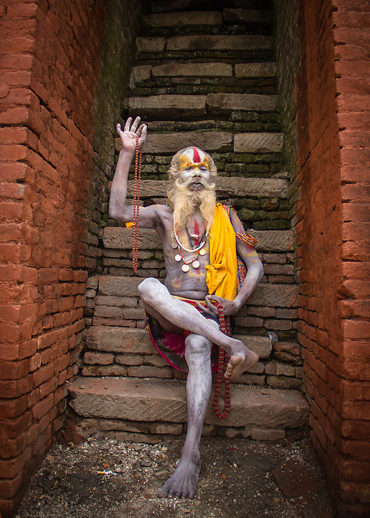 A hindu sadhu (holy man) at the temples of Pashupatinath, Kathmandu, Nepal.