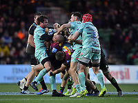 Rugby Union - 2019 / 2020 Gallagher Premiership - Harlequins vs. Gloucester<br /> <br /> Harlequins' Travis Ismaiel is tackled by Gloucester's Danny Cipriani and Mark Atkinson, at The Stoop.<br /> <br /> COLORSPORT/ASHLEY WESTERN