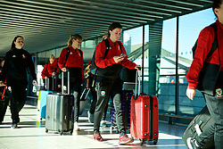 LONDON, ENGLAND - Monday, February 25, 2019: Wales' Helen Ward arrives at Heathrow Airport as they travel to Marbella for a training camp and friendly games against Republic of Ireland. (Pic by David Rawcliffe/Propaganda)