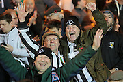 Maidenhead fans celebrate their draw in The FA Cup match between Port Vale and Maidenhead United at Vale Park, Burslem, England on 8 November 2015. Photo by Jemma Phillips.