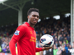 12.05.2013, Craven Cottage, London, ENG, Premier League, FC Fulham vs FC Liverpool, 37. Runde, im Bild Liverpool's hat-trick hero Daniel Sturridge with the match-ball after his three goals helps the Reds come from behind to beat Fulham 3-1 during during the English Premier League 37th round match between Fulham FC and Liverpool FC at the Craven Cottage, London, Great Britain on 2013/05/12. EXPA Pictures © 2013, PhotoCredit: EXPA/ Propagandaphoto/ David Rawcliffe..***** ATTENTION - OUT OF ENG, GBR, UK *****