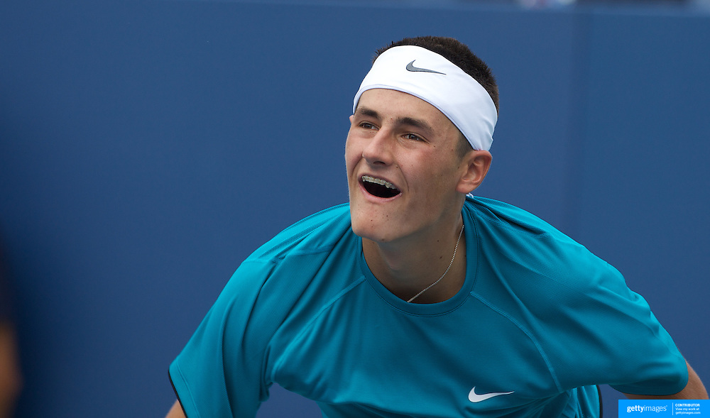 Bernard Tomic, Australia, in action against Alexander Domijan, USA, in the Boy's Singles Championships during the US Open Tennis Tournament at Flushing Meadows, New York, USA, on Wednesday, September 9, 2009. Photo Tim Clayton.