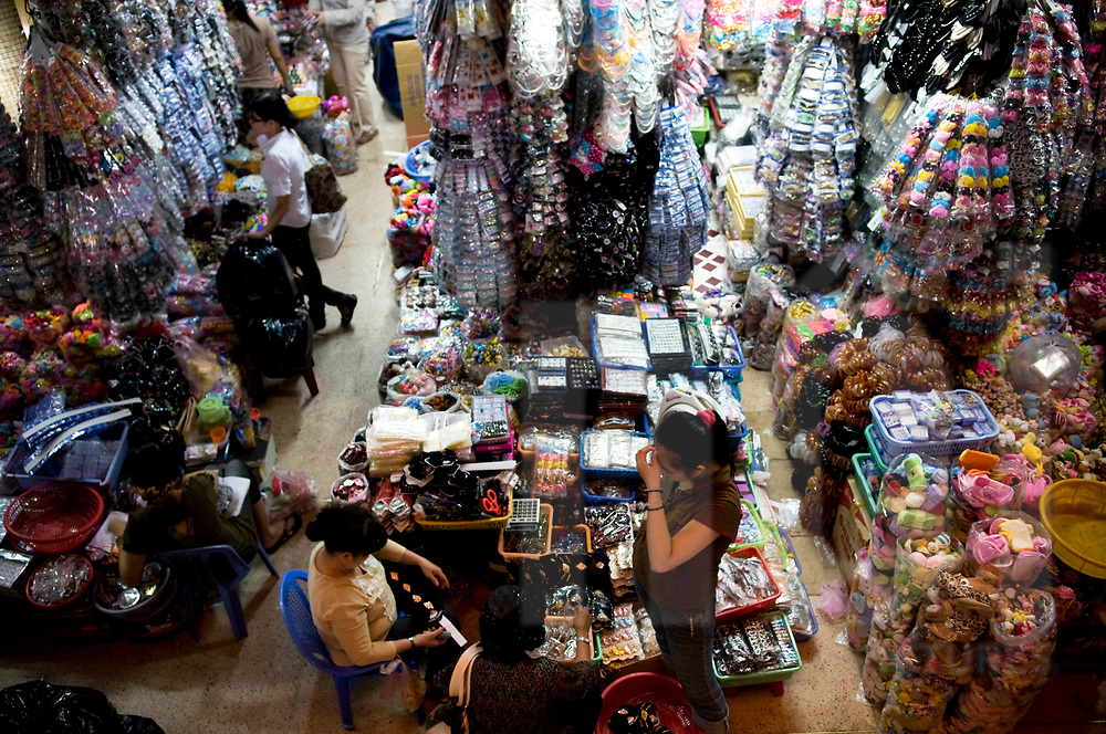 Chaotic display of goods in Cholon market, Ho Chi Minh city, Vietnam, Southeast Asia
