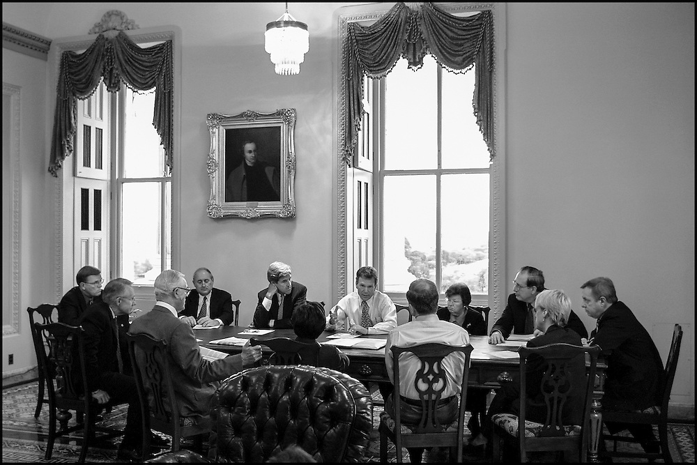 Senate Majority Leader Tom Daschle chairs a meeting with the Leadership Members.  The recent effects of terrorism where the topic.  9/25/01..©PF BENTLEY/PFPIX.com