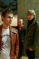 Lifehouse shot at Geffen Records on February 9, 2005...Jason Wade, lead vocals, guitar..Bryce Soderberg, bass guitar..Rick Woolstenhulme, drums..© Rahav Segev/ Retna ltd.