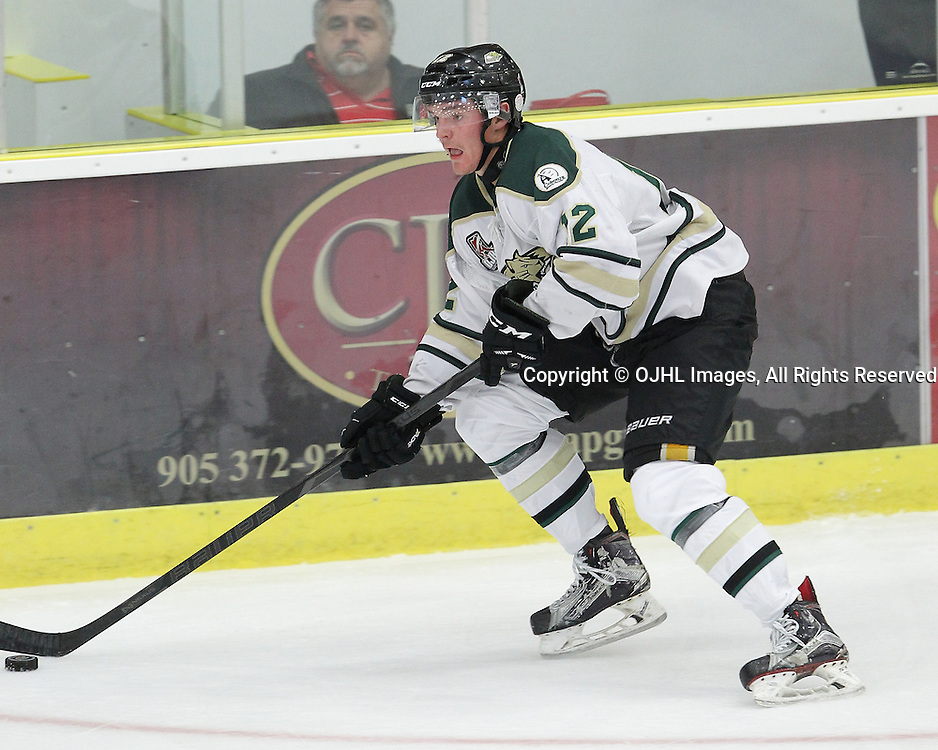 COBOURG, ON - SEP 12,  2016: Ontario Junior Hockey League game between Pickering and Cobourg, Jesse Baird #12 of the Cobourg Cougars skates with the puck during the second period.<br /> (Photo by Tim Bates / OJHL Images)