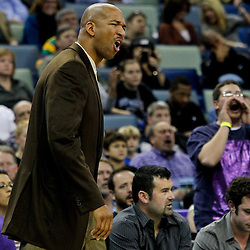 February 2, 2012; New Orleans, LA, USA; New Orleans Hornets head coach Monty Williams argues an officials call during the second quarter of a game against the Phoenix Suns at the New Orleans Arena.   Mandatory Credit: Derick E. Hingle-US PRESSWIRE