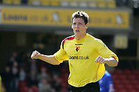 Photo: Lee Earle.<br /> Watford v Ipswich Town. Coca Cola Championship. 17/04/2006. Watford's Darius Henderson celebrates after scoring the opening goal.