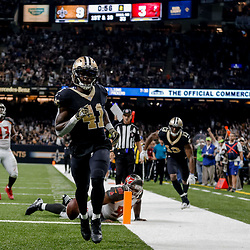 Nov 5, 2017; New Orleans, LA, USA; New Orleans Saints running back Alvin Kamara (41) celebrates as he crosses the goal line for a touchdown against the Tampa Bay Buccaneers during the first half of a game at the Mercedes-Benz Superdome. Mandatory Credit: Derick E. Hingle-USA TODAY Sports