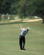 Justin Leonard drives the ball out of the fairway to the first hole green during the Fourth Round of the Valero Texas Open, Sunday, 7 October 2007, Resort Course at LaCantera Golf Club, San Antonio, TX.
