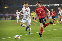 March 21, 2019 - Vienna, Austria - Marcel Sabitzer of Austria fights for the ball with Grzegorz Krychowiak of Poland during the UEFA European Qualifiers 2020 match between Austria and Poland at Ernst Happel Stadium in Vienna, Austria on March 21, 2019  (Credit Image: © Andrew Surma/NurPhoto via ZUMA Press)