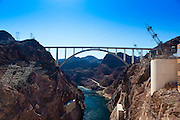 Mike O'Callaghan – Pat Tillman Memorial Bridge U.S. Route 93 Hoover Dam Bypass. At Hoover Dam over Black Canyon in the Colorado River.