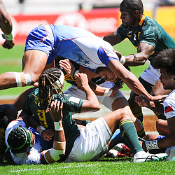Justin Geduld and Siviwe Soyizwapi of South Africa during the match between South Africa and Samoa at the HSBC Paris Sevens, stage of the Rugby Sevens World Series on June 2, 2019 in Paris, France. (Photo by Sandra Ruhaut/Icon Sport)