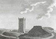 Engraving of Scottish landscapes and buildings from late eighteenth century, St John Baptist church, Scotland, UK 1790 , drawn by S Hooper