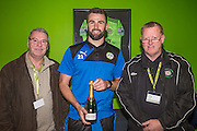 Forest Green Rovers Aarran Racine(21) is presented with his man of the match from sponsors Coles Electrical during the Vanarama National League match between Forest Green Rovers and Aldershot Town at the New Lawn, Forest Green, United Kingdom on 5 November 2016. Photo by Shane Healey.