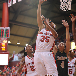 Jan 31, 2009; Piscataway, NJ, USA; Rutgers guard Brittany Ray (35) puts in a second-attempt reverse layup during the closing minutes of South Florida's 59-56 victory over Rutgers in NCAA women's college basketball at the Louis Brown Athletic Center