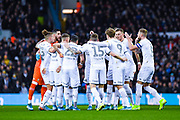 Leeds United players huddle during the EFL Sky Bet Championship match between Leeds United and Sheffield Wednesday at Elland Road, Leeds, England on 11 January 2020.