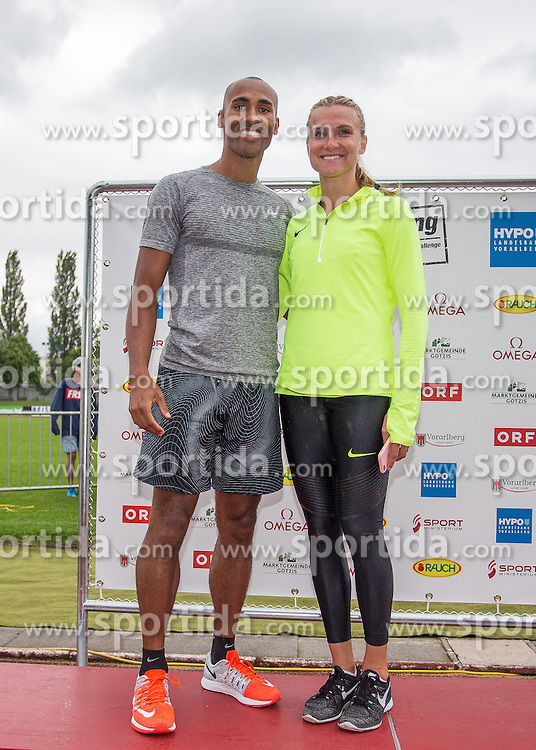 29.05.2016, Moeslestadion, Goetzis, AUT, 42. Hypo Meeting Goetzis 2016, Siegerehrung, im Bild v. l. Damian Warner (CAN), Eaton Brianne Theisen (CAN) // Damian Warner of Canada ( L ) Eaton Brianne Theisen of Canada ( R ) during the Winner Award Ceremony of the Heptathlon competition at the 42 th Hypo Meeting at the Moeslestadion in Goetzis, Austria on 2016/05/29. EXPA Pictures © 2016, PhotoCredit: EXPA/ Peter Rinderer