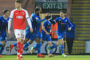 GOAL Ian Henderson celebrates scoring 1-1  during the EFL Sky Bet League 1 match between Rochdale and Fleetwood Town at Spotland, Rochdale, England on 19 January 2019.