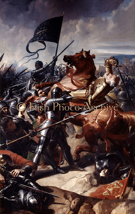 Battle of Castillon, 1453', last battle of the Hundred Years' War between England and France. Decisive French victory. English commander, Earl of Shrewsbury killed. Oil on canvas. 1838. Charles-Philippe Lariviere (1798-1876) French painter.