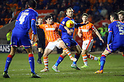 Blackpool Striker Jack Redshaw battles during the Sky Bet League 1 match between Blackpool and Oldham Athletic at Bloomfield Road, Blackpool, England on 16 February 2016. Photo by Pete Burns.